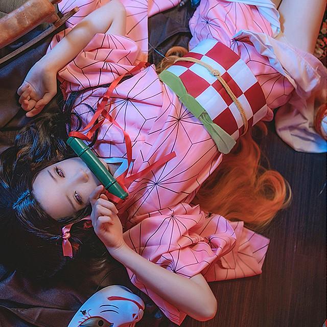 [即納]【3SIZE】鬼滅の刃 竈門 禰豆子 かまどねずこ コスプレ 着物 コスチューム ハロウィン Halloween 衣装 10点セット キャラクター