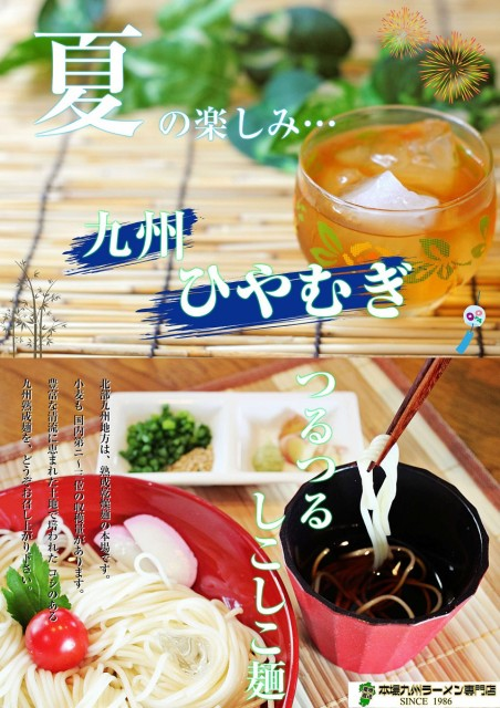 《夏の冷し麺シリーズ》本場九州熟成麺(ひやむぎ:細うどん)250g×4袋(たっぷり1kgサイズ!)