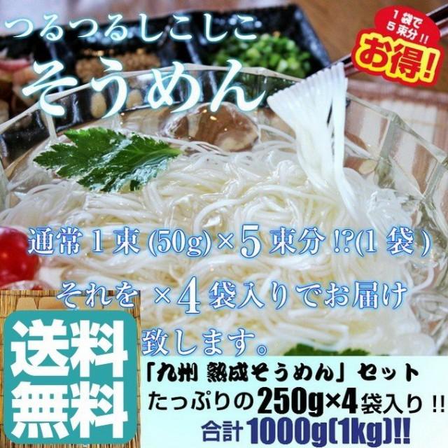 そうめん 素麺 お取り寄せ 九州 熟成そうめん 1 000g たっぷり1キロ 約8人前 1袋(250g)×4袋 セット にゅうめん 保存食 乾麺 備蓄食