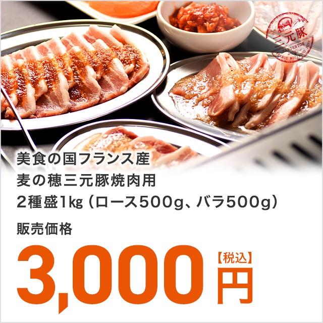 【送料無料】美食の国フランス産三元豚焼肉用2種盛り1kg(ロース500g、バラ500g)【3000円均一】