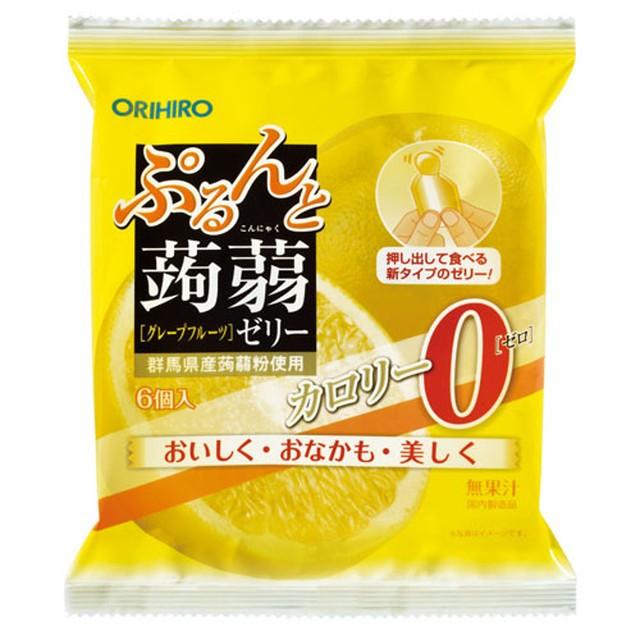 ◆オリヒロ ぷるんと蒟蒻ゼリーパウチ カロリーゼロ グレープフルーツ 20g×6個【6個セット】