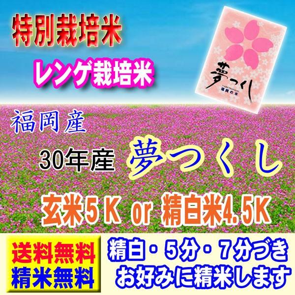 30年産 特別栽培米 福岡産 夢つくし 5kg レンゲ米 送料無料 玄米 白米 7分づき 5分づき 3分づき お好みに精米します