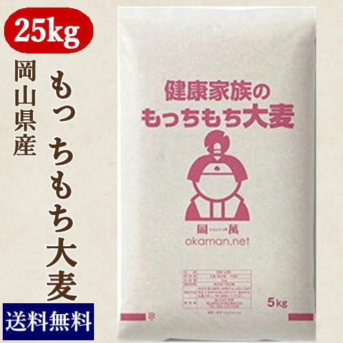 もっちもち大麦 25kg (5kg×5袋) 令和元年岡山県産 北海道沖縄の方別途770円送料かかります