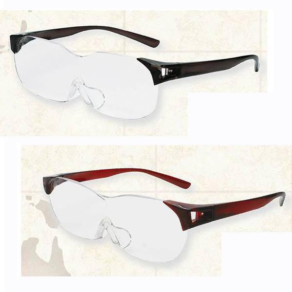 送料無料 両手が自由に使える 話題の メガネタイプの拡大鏡 ルーペメガネ 拡大率1.6倍 RESA SM-01-1 ダークグレイ SM-01-5 ダークワイン
