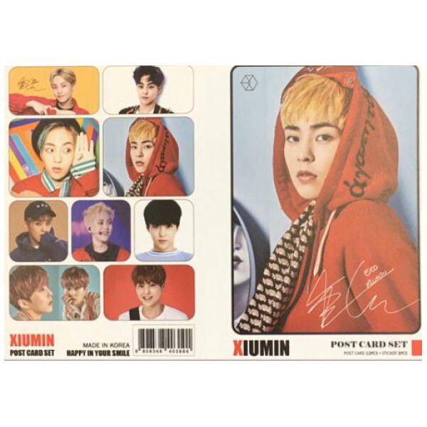 EXO シウミン ポストカード& ステッカーセット 韓流 グッズ th040-7