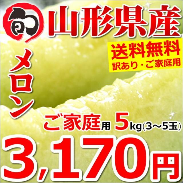 【2020 予約】山形県産 ご家庭用 アンデスメロン 5kg(3玉〜5玉入り) 訳あり メロン 青肉 果物 フルーツ お取り寄せ 送料無料