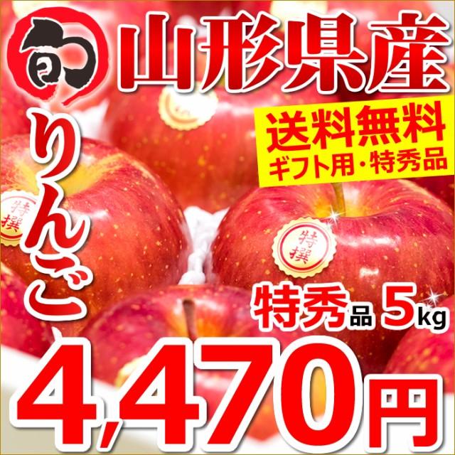 山形県産 りんご サンふじ 5kg(特秀品/14玉〜18玉入り) ギフト 贈り物 お年賀 果物 フルーツ リンゴ お取り寄せ