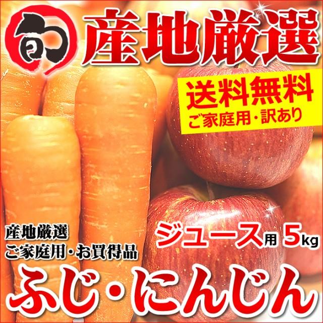 【12月中旬〜日時指定OK】訳あり サンふじりんご&無農薬にんじん 詰め合わせ 5kg(ご家庭用/ジュース・スムージー用)