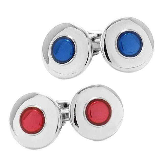 カフス レッド ブルー ラウンド 円形 カフスボタン 結婚式 パーティ プレゼント ケース付き おしゃれ シンプル