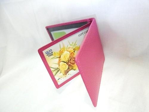 【ピンク】薄型 シンプルな折りたたみパスケース カードケース レザー