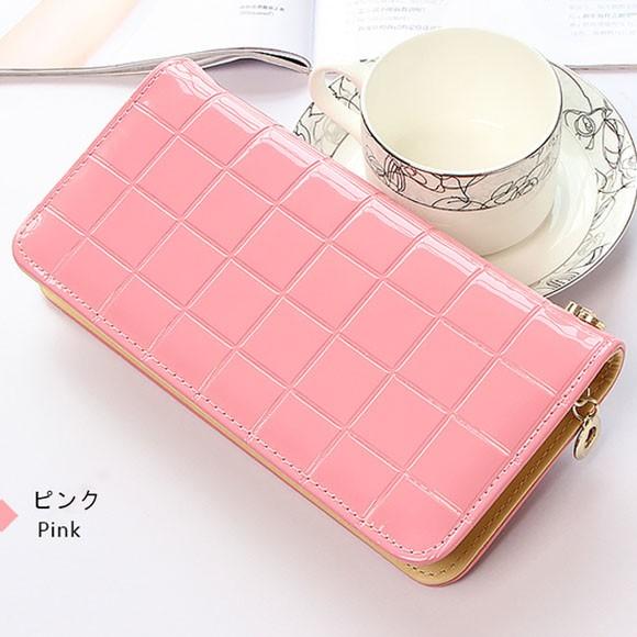 レディース 長財布 シンプル エナメル 人気 かわいい ラウンドファスナー ピンク