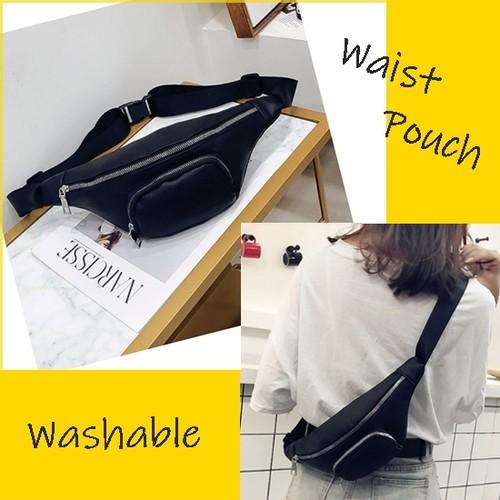 黒 シンプル ウォッシャブル スポーツバッグ スリムタイプ 男女兼用 ボディバッグ ウエストポーチ バッグ ベルトバッグ