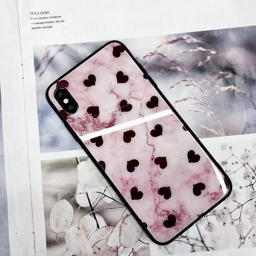 【iPhoneX/XS】iPhoneケース ハート柄 強化ガラス TPU 大理石調 ピンク 可愛い レディース