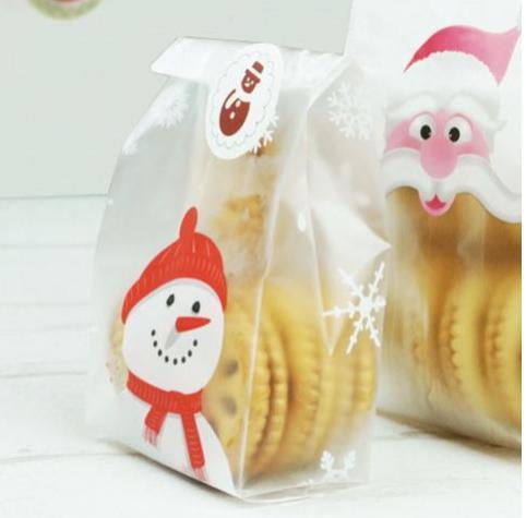 スノーマン ラッピング袋 雪だるま シール付 ギフト袋 お菓子 ミニバッグ プレゼント用 24枚セット クリスマスのギフト