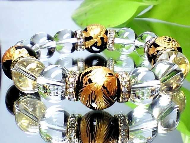 風水金彫四神獣黒瑪瑙天然水晶オラオラ数珠