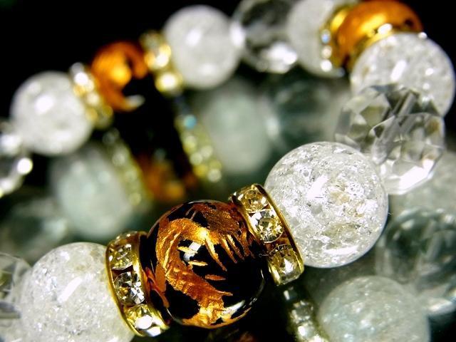 四神獣オニキス§クラック水晶64面カット水晶12ミリ金ロンデル数珠【天然石】【ブレスレット】【パワーブレス】【数珠】【パワーストーン