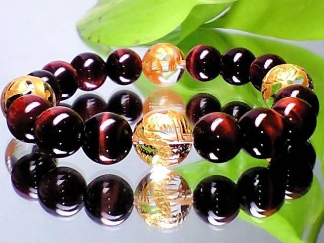 金彫四神獣12ミリ水晶・赤虎目10ミリ数珠【天然石】【ブレスレット】【パワーブレス】【数珠】【パワーストーン】【男性用】【女性用】