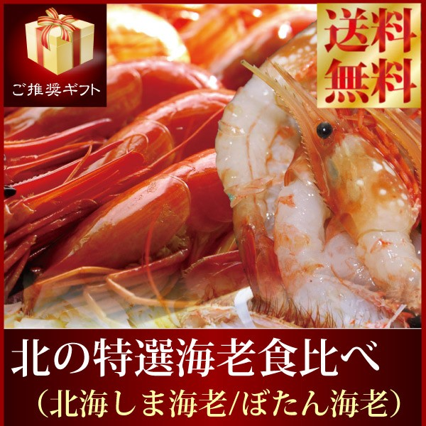 送料無料『北海道2大人気海老セット』北海シマエビM500g刺身用ボタンエビL500gしまえび しま海老 ぼたんえび のし ギフト 贈答用