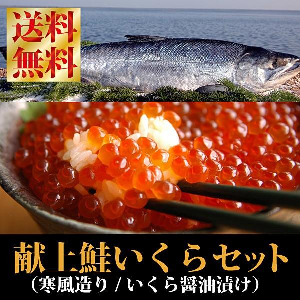 【送料無料】『献上鮭&イクラ醤油漬けセット』(西別鮭寒風造り/輪切りカット)(いくら醤油漬け:210gパック)