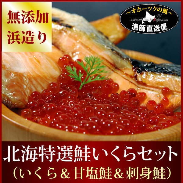 送料無料 『北海道産鮭イクラ親子セット』(いくら醤油漬け:210g/甘塩鮭頑固造り:2切x2パック/お刺身サーモン『銀とろルイベ』100g