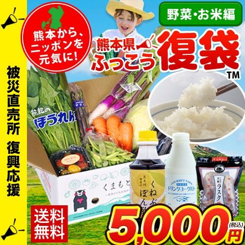 熊本県産 旬の野菜セット 熊本県産米5kg ドリンクヨーグルト くねぶぽん酢 お米 送料無料 11月末-12月下旬頃より順次出荷 復興福袋 ふっ