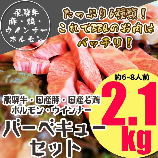 飛騨牛入バーベキューセット2.1kg入 焼肉/焼き肉/牛肉/鶏肉/豚肉/ウインナー/カルビ/もも・かた肉/ばら肉/味付焼肉/豚ホルモン/明宝フ