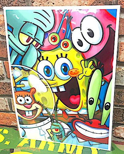 スポンジボブ グッズ アメリカン雑貨 台紙付きポスター 壁飾り-LA0020
