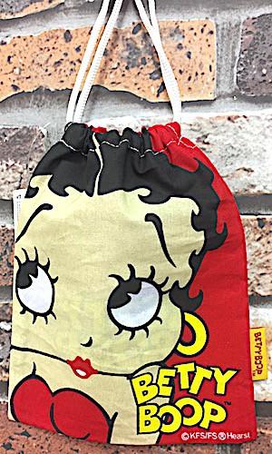 ベティ・ブープ アメリカン雑貨 Betty Boop ベティちゃん グッズ 巾着 FACE RED ポーチ 小物入れ ベティーちゃん-OT0150