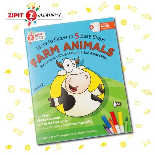 ZIPIT(ジップイット) 5ステップ イラストブック 牧場の動物 (お絵描きが好きになる イラストが上手に描くための練習)