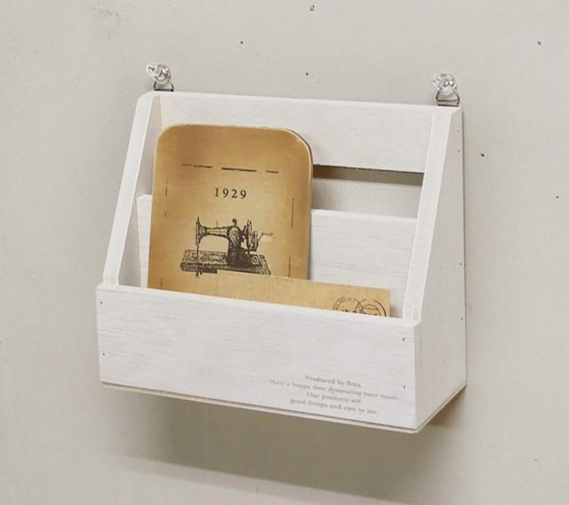 木製 壁掛け レターラック No.6 ホワイト はがき/手紙/レタースタンド/BREA