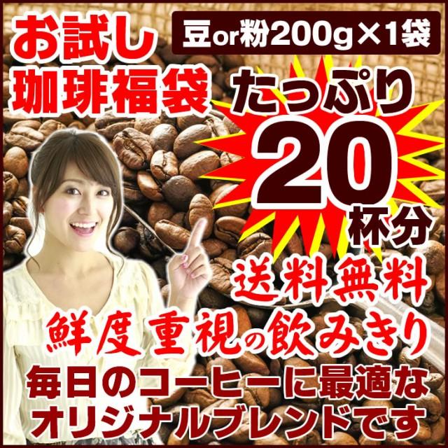 ポイント消化 コーヒー豆 オリジナルブレンド 珈琲 選べる 豆 中挽き 粉 20杯分 お試し 福袋 200g 送料無料