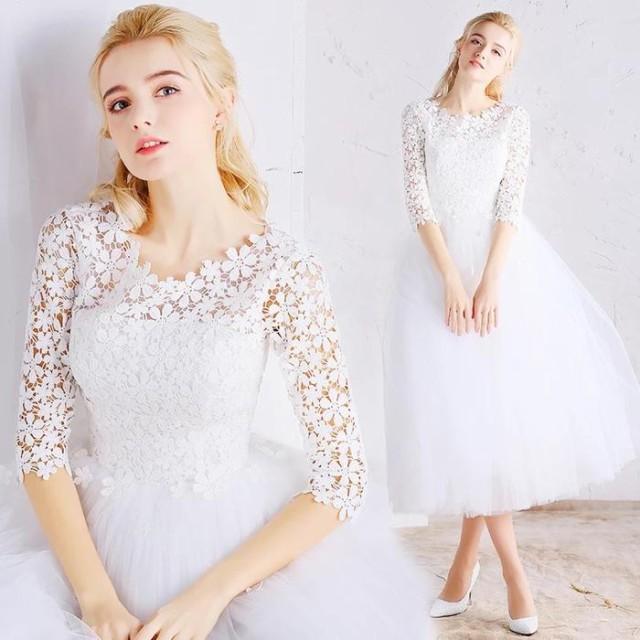 ウェディングドレス パーティードレス 花嫁 二次会 結婚式ドレス Aライン 高級 プリンセス 流行りのミモレ丈ドレス 花レース ワンピース