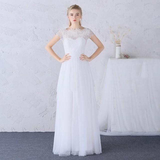 ウェディングドレス パーティードレス 花嫁 二次会 結婚式 Aライン 高級 プリンセス スレンダーライン 花レースドレス ワンピース
