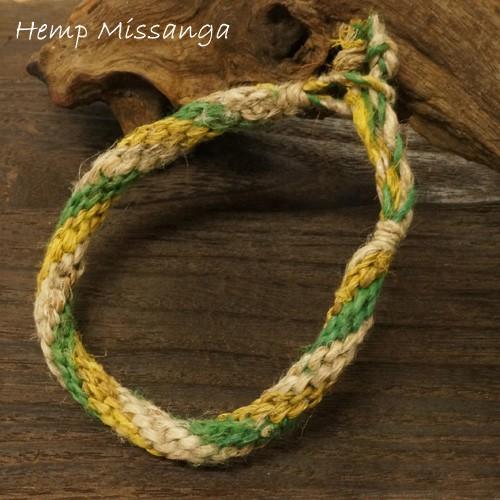 ジャマイカンカラー!?黄、緑の2色ヘンプ(麻)ミサンガ【プロミスリング ブレスレット】