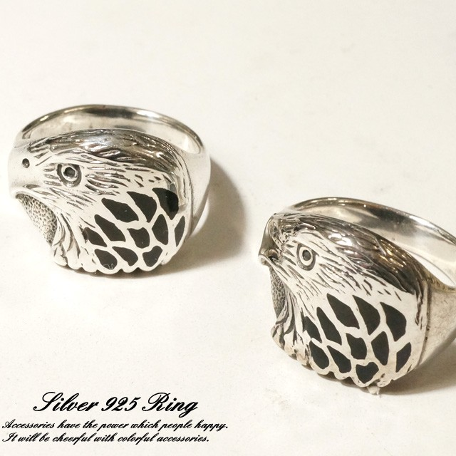シルバー925 メンズ レディース 指輪 鷹 鷲 イーグルヘッドデザインリング silver925 シルバーアクセサリー
