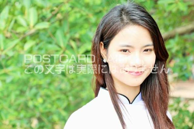 【ベトナムの風景ポストカードのAIR】 ベトナム アオザイ女性の微笑みのはがきハガキ葉書 撮影/YOSHIO IWASAWA