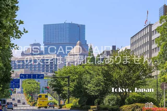 【日本の観光地ポストカード】「Tokyo Japan」国会議事堂と緑の葉書はがき photo by MIRO