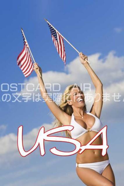 【限定文字入りポストカード】「USA」アメリカ人白人女性が星条旗を振りながら水着で走る ハガキはがき絵葉書postcard-」