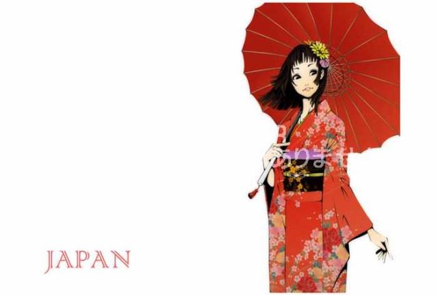 【美容室向けポストカードAIR】「JAPAN」赤い着物を着た女性イラストのはがき 絵葉書