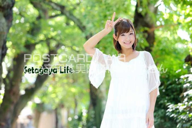 【日本の観光地ポストカードAIR】「Setagaya Life」世田谷生活ライフ 緑の並木道で笑顔の女性の葉書はがきハガキ