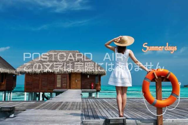 【夏の風景ポストカード】「Summer days」バンガローの前で女性がたたずむの葉書はがきハガキ