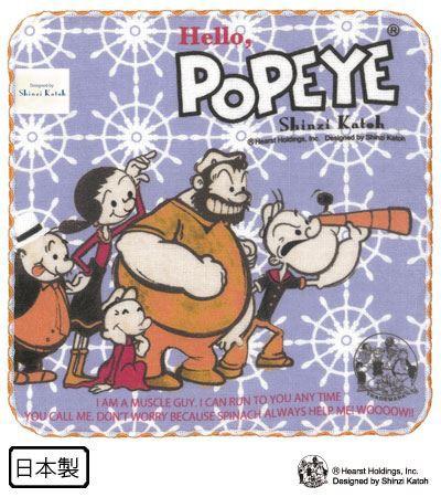 Shinzi Katoh シンジカトウ 【POPEYE タオルチーフ テレスコープ】(ハンカチ ギフト 子供 ガーゼ 生地 ブランド アメコミ ポパイ
