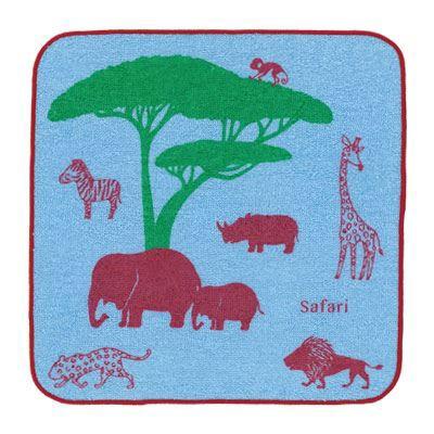 Shinzi Katoh シンジカトウ 【Safari タオルチーフ ナイト】(かわいい ブランド ギフト 厚手 子供 セット 動物 アニマル ブルー カラフル