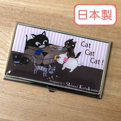 Shinzi Katoh シンジカトウ 【名刺入れ Cat cat cat】(キャラクター かわいい コラボ ケース レディース デザイン 女性用 カード入れ ブ