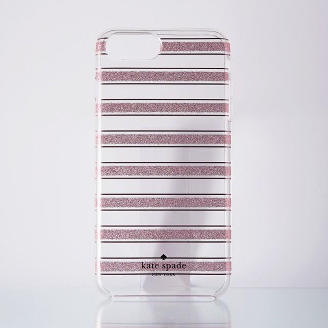 kate spade ケイトスペード グリッターストライプクリアiPhone case
