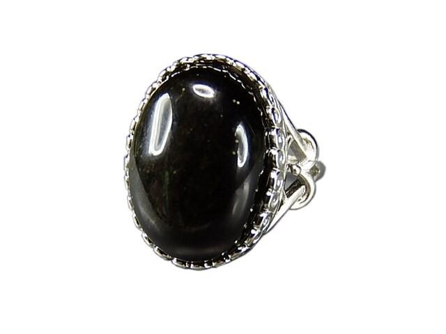 魔除けAAAオブシディアン大粒黒系指輪天然石リング約12.5号