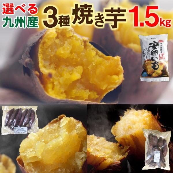 焼き芋食べ比べ 1.5kg(500g×3袋)選べる 安納芋 シルクスイート 紅はるか 鹿児島県産 送料無料 クール