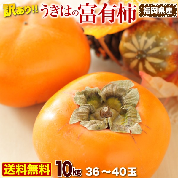 柿 訳あり 10kg 中玉 2L〜L玉 36〜40玉前後 送料無料 福岡県産 うきはの富有柿 ご家庭用
