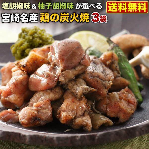 炭火焼 宮崎産 宮崎鶏の炭火焼き 塩胡椒味 柚子胡椒味 選べる 100g x 3袋 本場の味をお取り寄せ メール便