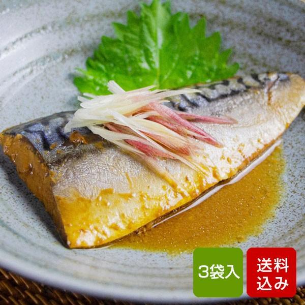 惣菜 サバの味噌煮 3袋入り レトルト 簡単調理 レンチン 長期保存化 メール便